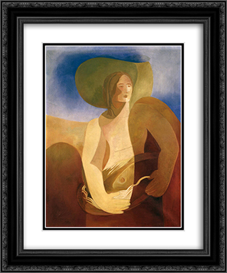 Woman with fish 20x24 Black or Gold Ornate Framed and Double Matted Art Print by Aleksandra Ekster
