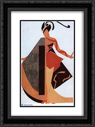 Women's costume 18x24 Black or Gold Ornate Framed and Double Matted Art Print by Aleksandra Ekster