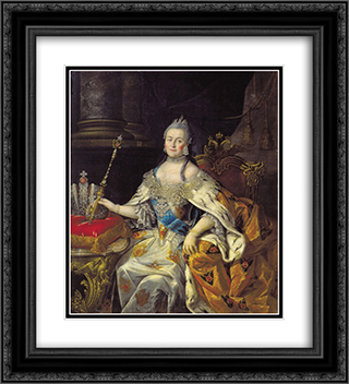 Portrait of Catherine II 20x22 Black or Gold Ornate Framed and Double Matted Art Print by Aleksey Antropov