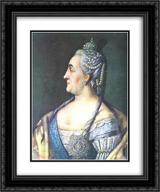 Portrait of Catherine II the Great 20x24 Black or Gold Ornate Framed and Double Matted Art Print by Aleksey Antropov