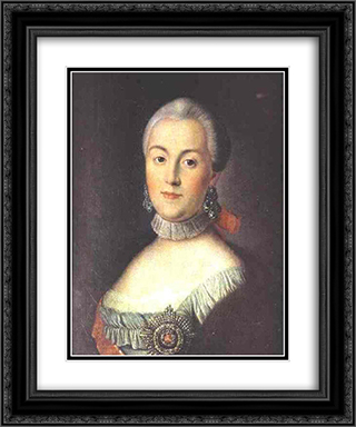 Portrait of Grand Duchess Catherine Alekseevna, Future Empress Catherine II the Great 20x24 Black or Gold Ornate Framed and Double Matted Art Print by Aleksey Antropov