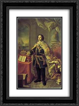 Portrait of Tsar Peter I 18x24 Black or Gold Ornate Framed and Double Matted Art Print by Aleksey Antropov