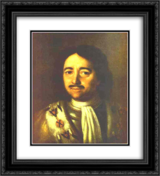 Portrait of Tsar Peter I the Great (1672-1725) 20x22 Black or Gold Ornate Framed and Double Matted Art Print by Aleksey Antropov