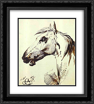 Head of a Horse 20x22 Black or Gold Ornate Framed and Double Matted Art Print by Alexander Orlowski