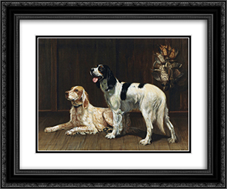 A Pair of Setters 24x20 Black or Gold Ornate Framed and Double Matted Art Print by Alexander Pope