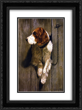 At the Kennel Door 18x24 Black or Gold Ornate Framed and Double Matted Art Print by Alexander Pope