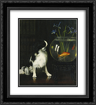 Japanese Chin and Goldfish 20x22 Black or Gold Ornate Framed and Double Matted Art Print by Alexander Pope