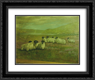Sheep in Field 24x20 Black or Gold Ornate Framed and Double Matted Art Print by Alexander Pope