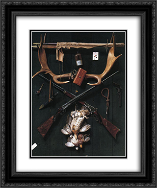 Sportsman's Still Life 20x24 Black or Gold Ornate Framed and Double Matted Art Print by Alexander Pope