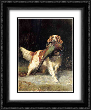 Springer Spaniel with Pheasant 20x24 Black or Gold Ornate Framed and Double Matted Art Print by Alexander Pope