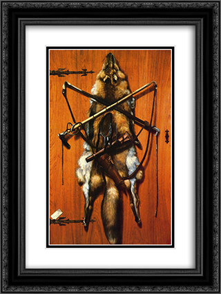 Still Life. Hunting Trophies - Red Fox Skin 18x24 Black or Gold Ornate Framed and Double Matted Art Print by Alexander Pope