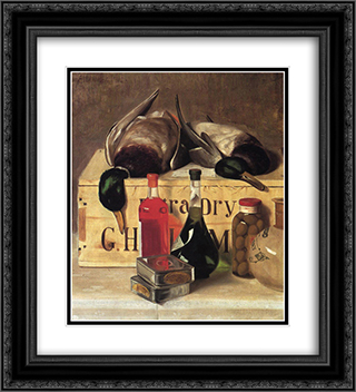Still Life with Mallards 20x22 Black or Gold Ornate Framed and Double Matted Art Print by Alexander Pope