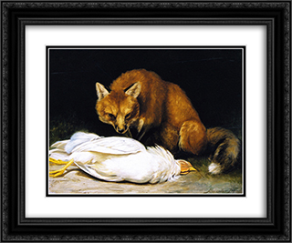 The Fox - Fair Game 24x20 Black or Gold Ornate Framed and Double Matted Art Print by Alexander Pope