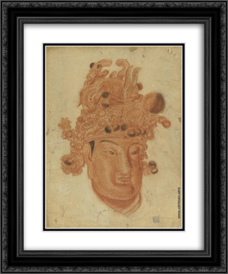 A Chinese God 20x24 Black or Gold Ornate Framed and Double Matted Art Print by Alexandre Jacovleff