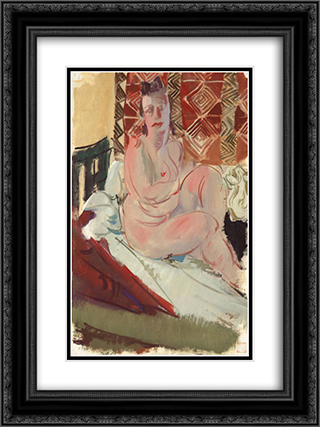 A Model Seated on a Bed 18x24 Black or Gold Ornate Framed and Double Matted Art Print by Alexandre Jacovleff