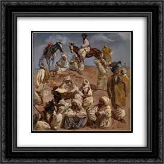 Afgans 20x20 Black or Gold Ornate Framed and Double Matted Art Print by Alexandre Jacovleff