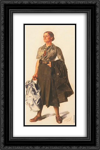 Anita Lopez in the form of scout 16x24 Black or Gold Ornate Framed and Double Matted Art Print by Alexandre Jacovleff