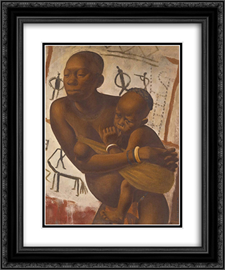 Banda Woman with a Child 20x24 Black or Gold Ornate Framed and Double Matted Art Print by Alexandre Jacovleff