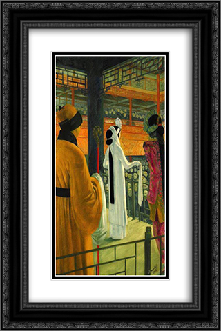 Beijing Opera 16x24 Black or Gold Ornate Framed and Double Matted Art Print by Alexandre Jacovleff