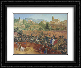 Bullfighting 24x20 Black or Gold Ornate Framed and Double Matted Art Print by Alexandre Jacovleff