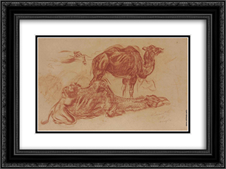 Camels 24x18 Black or Gold Ornate Framed and Double Matted Art Print by Alexandre Jacovleff