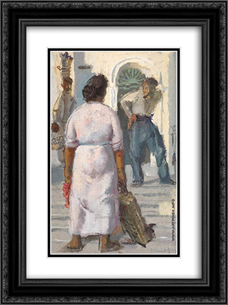 Conversation in Capri 18x24 Black or Gold Ornate Framed and Double Matted Art Print by Alexandre Jacovleff