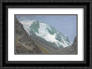 Glacier in the Pamir 24x18 Black or Gold Ornate Framed and Double Matted Art Print by Alexandre Jacovleff