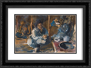 In the Kyrgyz yurt 24x18 Black or Gold Ornate Framed and Double Matted Art Print by Alexandre Jacovleff
