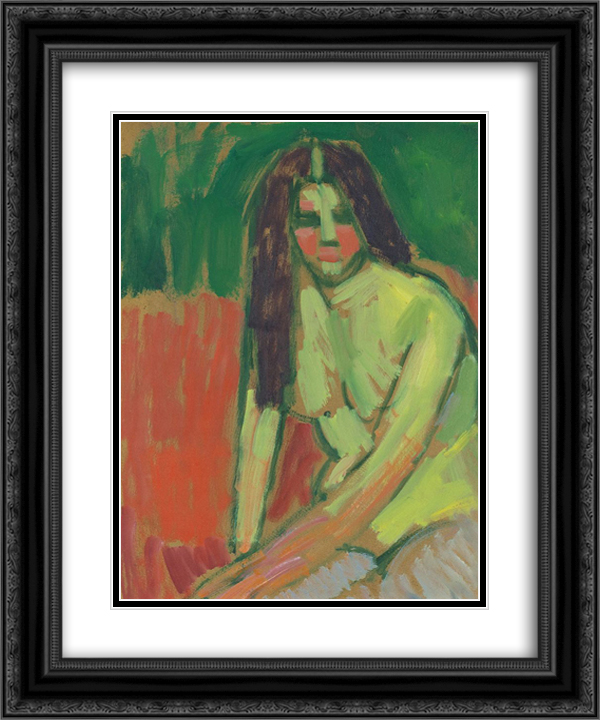 Half-nude figure with long hair sitting bent 20x24 Black or Gold Ornate Framed and Double Matted Art Print by Alexej von Jawlensky