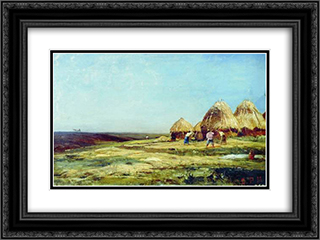 Ablyazov. Threshing 24x18 Black or Gold Ornate Framed and Double Matted Art Print by Alexey Bogolyubov