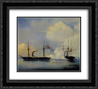 Action between Russian steam firgate Vladimir and Turkish steam frigate Pervaz in Bahri of November5, 1853 22x20 Black or Gold Ornate Framed and Double Matted Art Print by Alexey Bogolyubov