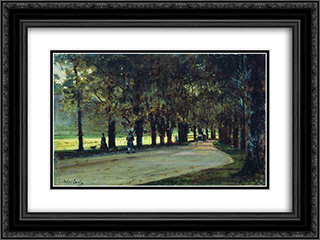 Alley in the park, Liechtenstein 24x18 Black or Gold Ornate Framed and Double Matted Art Print by Alexey Bogolyubov