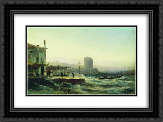 Baku. Embankment 24x18 Black or Gold Ornate Framed and Double Matted Art Print by Alexey Bogolyubov