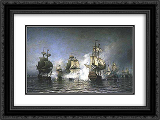 Battle of Osel Island 24x18 Black or Gold Ornate Framed and Double Matted Art Print by Alexey Bogolyubov