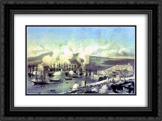 Battle Of Sinop 24x18 Black or Gold Ornate Framed and Double Matted Art Print by Alexey Bogolyubov