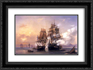 Capturing of Swedish 44 gun frigate Venus by Russian 22 gun cutter Merkuriy of June 1, 1789 24x18 Black or Gold Ornate Framed and Double Matted Art Print by Alexey Bogolyubov