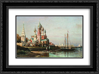 Easter procession in Yaroslavl 24x18 Black or Gold Ornate Framed and Double Matted Art Print by Alexey Bogolyubov