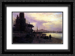 Embankment of Constantinople 24x18 Black or Gold Ornate Framed and Double Matted Art Print by Alexey Bogolyubov