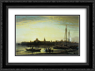 Ipatyev Monastery near Kostroma 24x18 Black or Gold Ornate Framed and Double Matted Art Print by Alexey Bogolyubov
