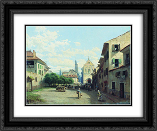 Norman city 24x20 Black or Gold Ornate Framed and Double Matted Art Print by Alexey Bogolyubov
