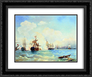 Revel fight May 2, 1790 24x20 Black or Gold Ornate Framed and Double Matted Art Print by Alexey Bogolyubov