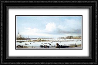 Riding on Neva river 24x16 Black or Gold Ornate Framed and Double Matted Art Print by Alexey Bogolyubov