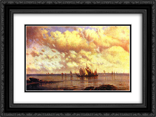 Sailboats in the bay 24x18 Black or Gold Ornate Framed and Double Matted Art Print by Alexey Bogolyubov