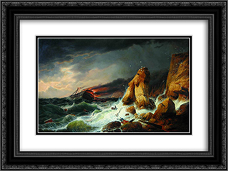 Shipwreck 24x18 Black or Gold Ornate Framed and Double Matted Art Print by Alexey Bogolyubov