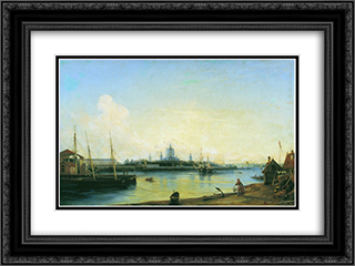Smolny as seen from Bolshaya Okhta 24x18 Black or Gold Ornate Framed and Double Matted Art Print by Alexey Bogolyubov