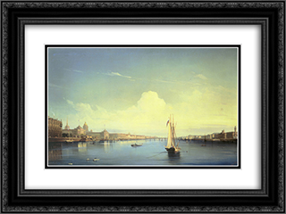 St. Petersburg at Sunset 24x18 Black or Gold Ornate Framed and Double Matted Art Print by Alexey Bogolyubov