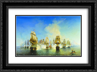 The Battle of Athos 24x18 Black or Gold Ornate Framed and Double Matted Art Print by Alexey Bogolyubov