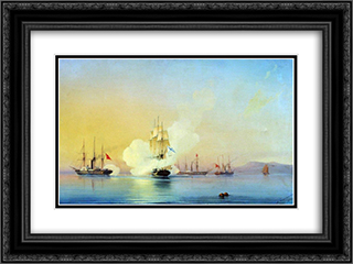 The battle of fregate Flora against Turkish steamships near Pitsunda November, 11 1853 24x18 Black or Gold Ornate Framed and Double Matted Art Print by Alexey Bogolyubov