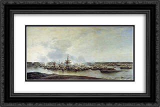 The Battle of Gangut, July 27, 1714 24x16 Black or Gold Ornate Framed and Double Matted Art Print by Alexey Bogolyubov