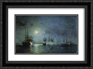 Turkish steamships attack 44 gun fregate Flora 24x18 Black or Gold Ornate Framed and Double Matted Art Print by Alexey Bogolyubov